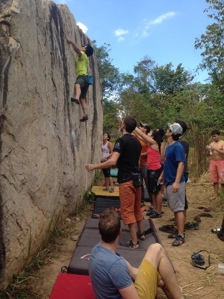 Group of climbers at Moby Dick boulder