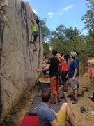 Rock Climbing Photo: Group of climbers at Moby Dick boulder