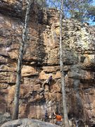 Rock Climbing Photo: reaching out for the second clip into the traverse...