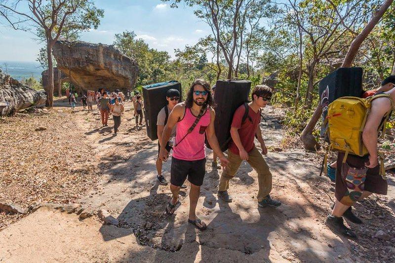 Group of climbers hike pass Hin Changsi, Upper Meadow area