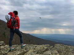 Rock Climbing Photo: Admiring a spring afternoon shower from the top of...