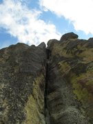Rock Climbing Photo: Looking up P2 of the Conn Route