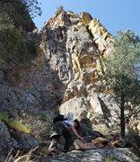 Rock Climbing Photo: Matt getting to the base of Charlie Pan Dihedral. ...