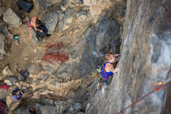 Rock Climbing Photo: Working up to the crux.