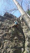 Rock Climbing Photo: Alec on the last half of Super Alloy.