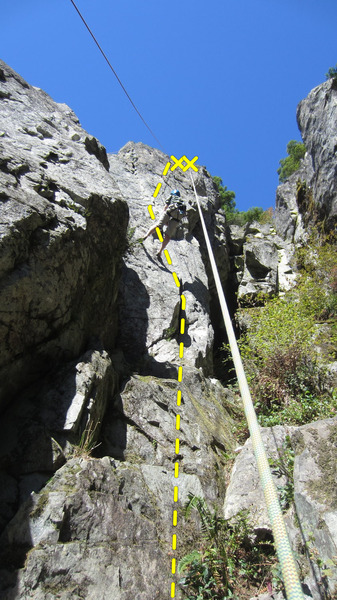 my bud sam attempting to hangdog TR the route after my lead.