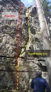 Rock Climbing Photo: Climber on Organic Matter, nearing the top!