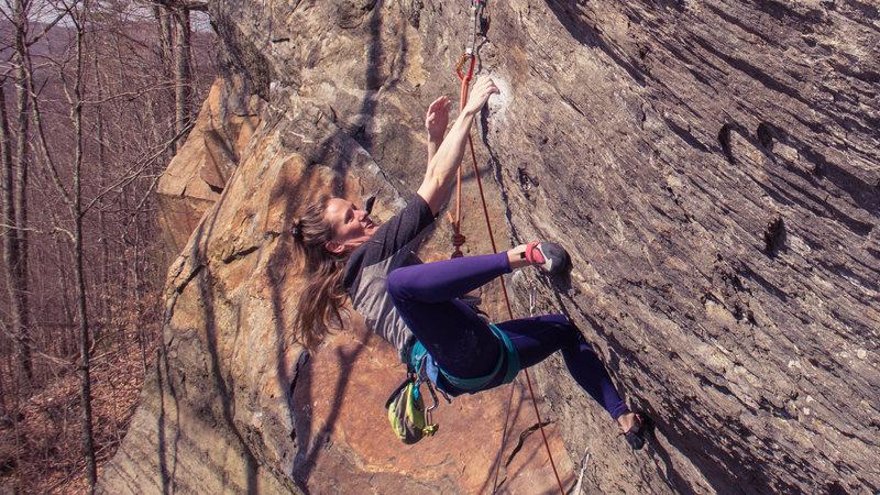 Rock Climbing Photo: Jess milking the rest.