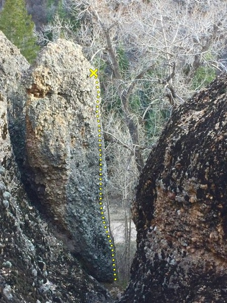 Photo taken looking down the gully/couloir at the Chopstick pillar. The route &quot@SEMICOLON@Panty Dropper&quot@SEMICOLON@ ascends the right corner.