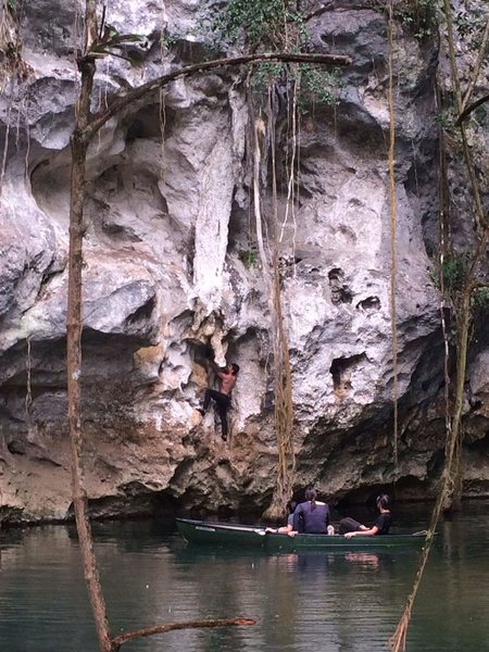 Route named Mayan Prince at Barton Creek. Kind of a mini deep water free solo rated at 5.8. Routed ends when you stand on the stalagtite then jump off into the water.