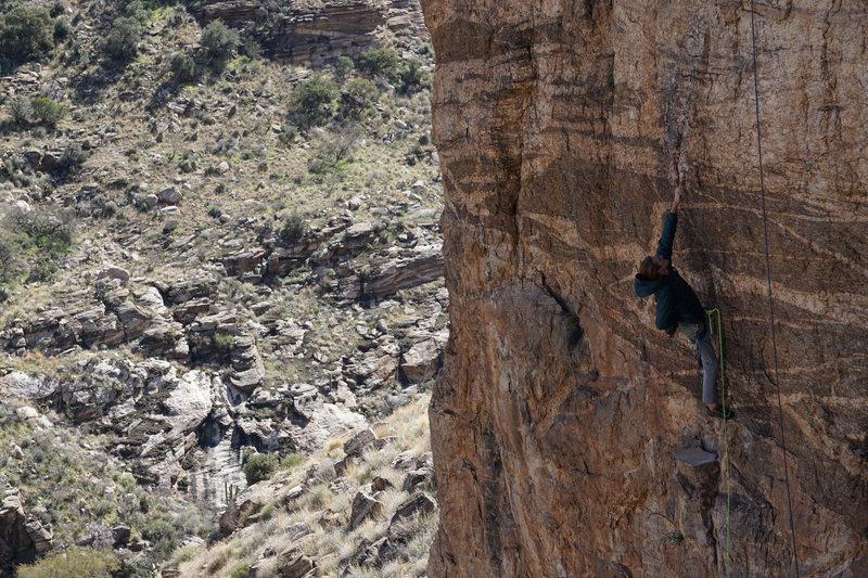 Rock Climbing Photo: Kemper Gettin' his Spray Tan on.