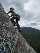 Rock Climbing Photo: Leaving the anchors for the final pitch.  This rou...