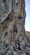 Rock Climbing Photo: Eyeing down the crux at the beginning of the tufa....