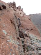Rock Climbing Photo: Derek on FA, Pitch 1