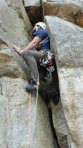 "Leading up chimney on ""Layback"" in the Near Trapps, The Gunks, NY. April 2017."