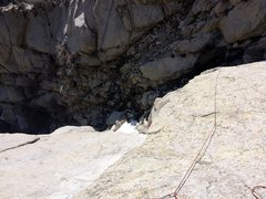 Rock Climbing Photo: Looking down pitch 1