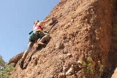 Rock Climbing Photo: Jessica pulling on classic pinnacle rock.