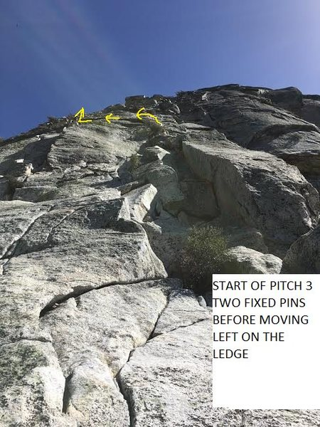 START OF PITCH 3. TWO FIXED PINS BEFORE MOVING LEFT ON LEDGE