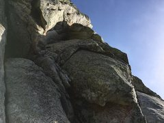 Rock Climbing Photo: PIC OF 4TH BELAY AT TREE, LOOKING UP TO START OF P...