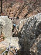 Rock Climbing Photo: The chimney finish