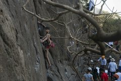 Rock Climbing Photo: Irfan Shaikh on crux of  Alernative facts