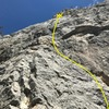 Looking up at route from left of belay stance.