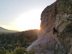 Rock Climbing Photo: Racing the sunset on Pistol Pete