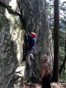 Rock Climbing Photo: Fiddling in a nut on the bouldery start to Outer S...