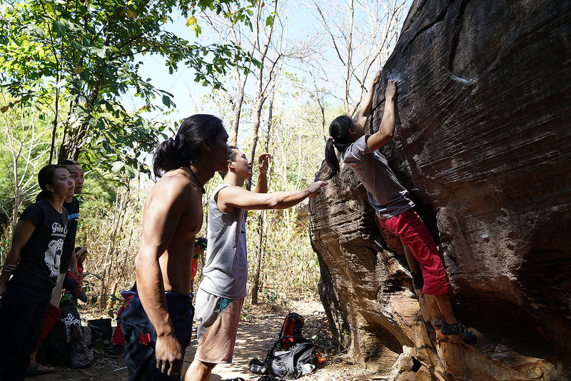 Rock Climbing Photo: Youth team from Bangkok on Funky Move V2, Sister 2...