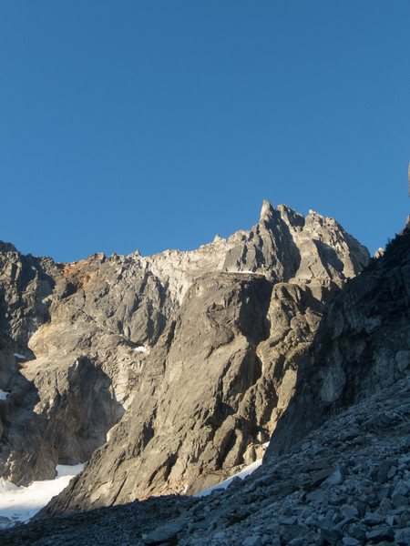 The direct north buttress (foreshortened). The start of the route is off the glacier on the photo left, hidden behind the ridge.