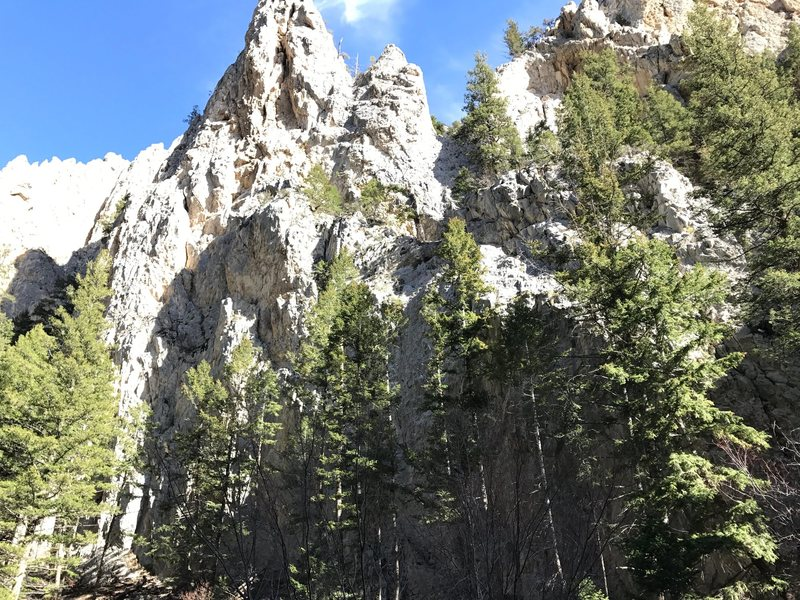 Bukowski Buttress from road.