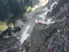 Rock Climbing Photo: Exposure on the OW bypass pitch of the Bear DNB