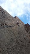 Rock Climbing Photo: Ben halfway up the route.