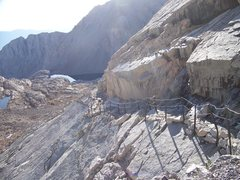 One particularly steep section of the Mount Whitney Trail is protected by cable handrails