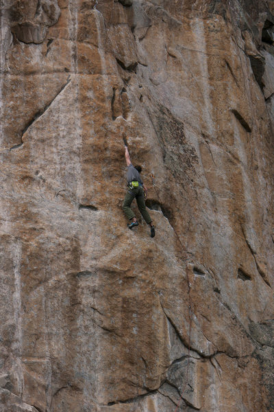Skyler Bol working the middle crux back when it was still a project.