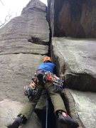 Rock Climbing Photo: Adam setting off on his onsight of Butterbeans