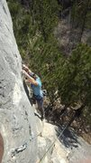 Rock Climbing Photo: just getting into the crux