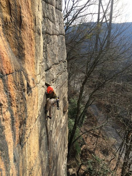 Rock Climbing Photo: Adam leading Zag.