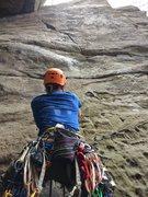 Rock Climbing Photo: Adam leading Chockstone.
