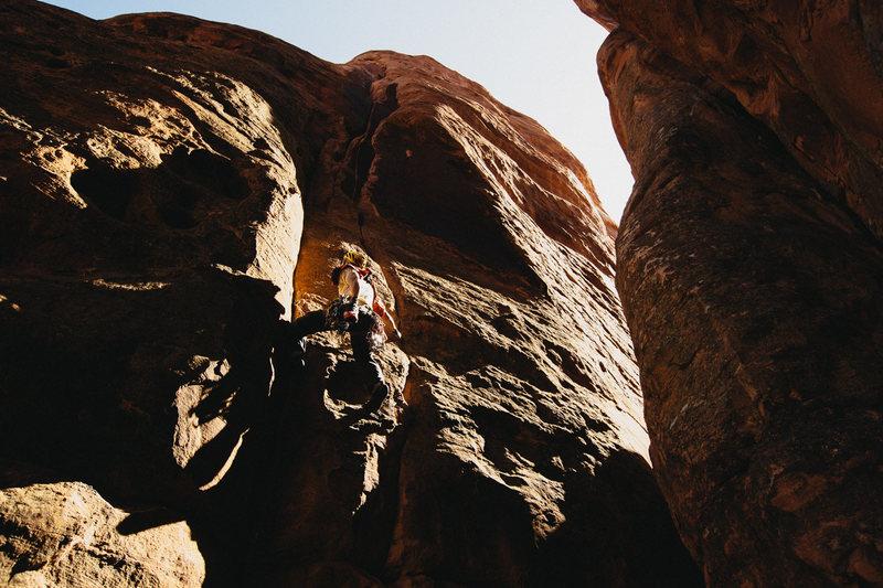 Rock Climbing Photo: Wayne Wallace leading out on P1.