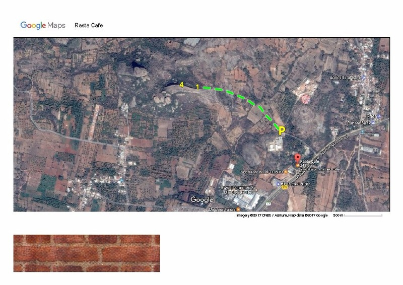 Rasta Cafe routes. Hiking path from parking in green
