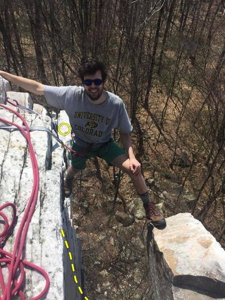 Halfway through cleaning the anchor. The yellow dotted line shows the route. I actually ended up topping out on that giant horn my left foot is on.<br> <br> The circle shows where the belayer can comfortably sit, feet dangling towards the line.<br> <br> (It kind of looks like I&@POUND@39@SEMICOLON@m attached to the remnants of the anchor. I&@POUND@39@SEMICOLON@m actually cloved into a slung tree behind the photographer.)