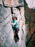 Rock Climbing Photo: Unknown climber about half way up Bunny. (April 17...