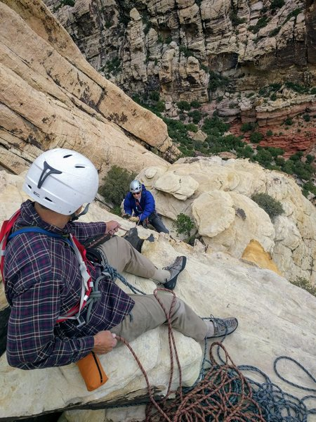 Larry (belaying) and Bob (following) on the 3rd pitch of Lady Luck.