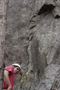Rock Climbing Photo: Bryan at the start of the crack.  Sustained 5.9 ri...