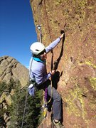 Rock Climbing Photo: Lisa having fun installing the first bolt....