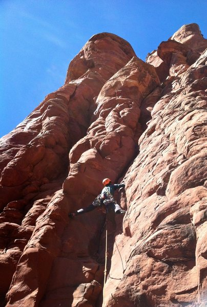 Rock Climbing Photo: Leading the first pitch on the FA. (Photo: Mark Ge...