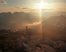 Rock Climbing Photo: Early morning approaching peak 6500 on the Viennes...