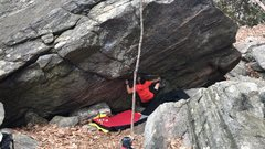 Rock Climbing Photo: One move in from sit-start of Kerosine on Fire.