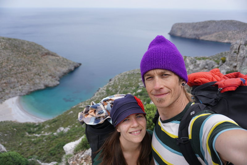Me and my beautiful wife at the Sikati Cave in Kalymnos.